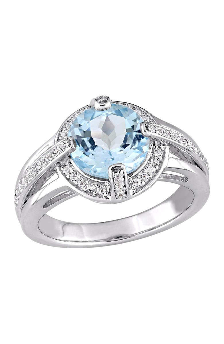 DELMAR Sterling Silver Blue Topaz Stone Pave Ring, Main, color, BLUE