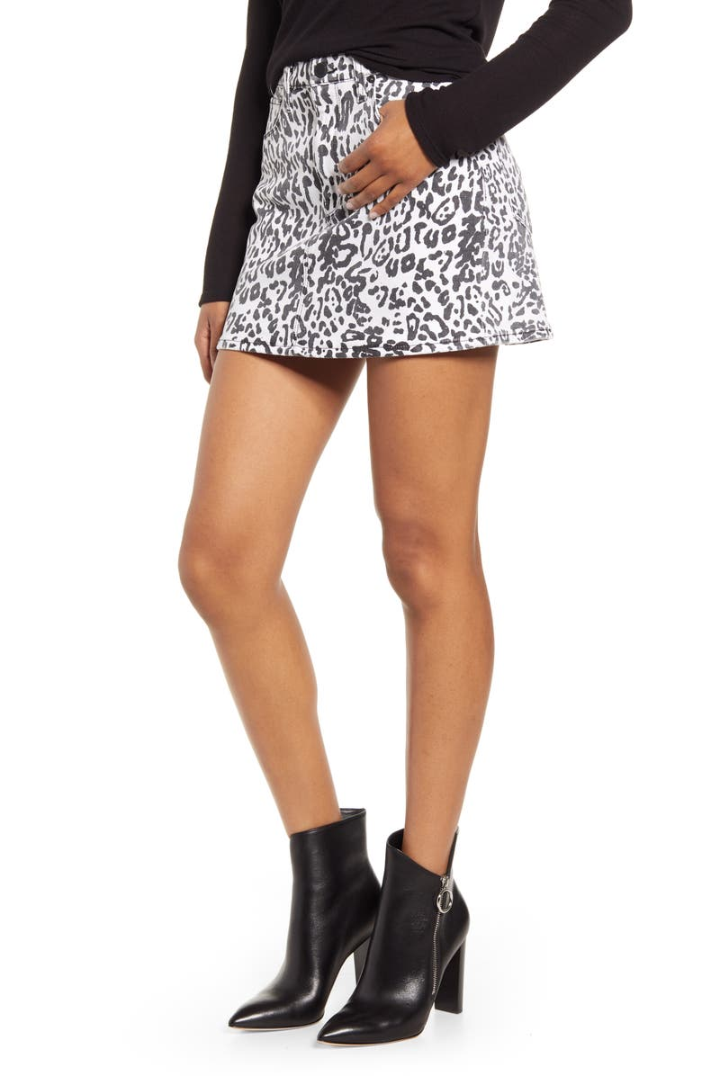 HUDSON JEANS Animal Print Skirt, Main, color, 109