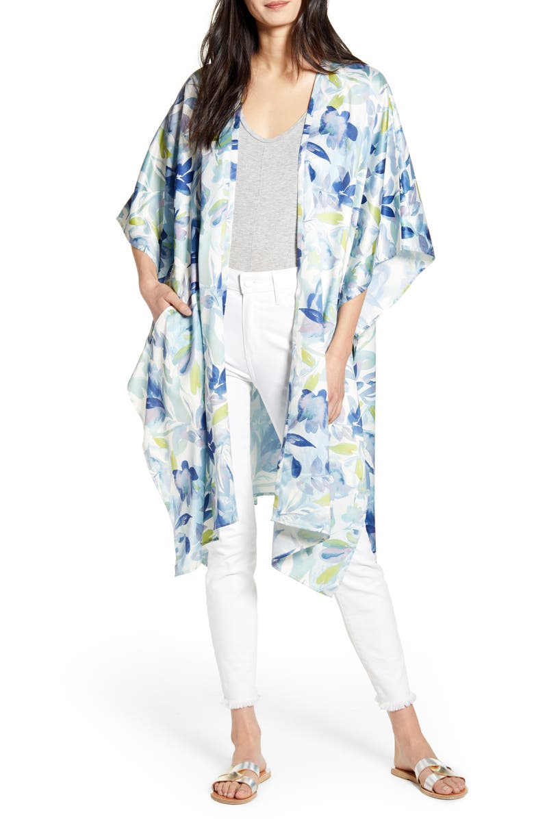 NORDSTROM Printed Duster, Main, color, BLUE SUN FLORAL PRINT