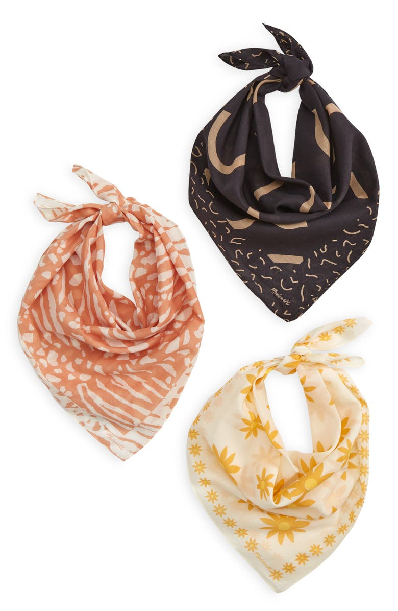 MADEWELL Assorted 3-Pack Organic Cotton Bandanas, Main, color, AUTUMN GOLD