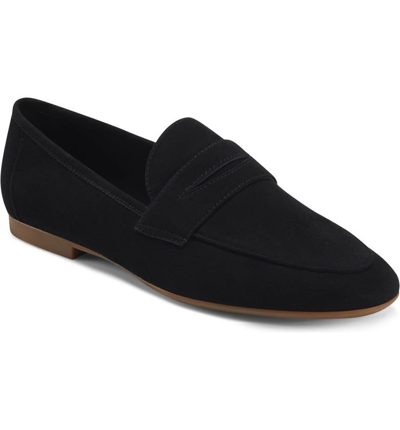 AEROSOLES Hour Penny Loafer Flat, Main, color, BLACK SUEDE