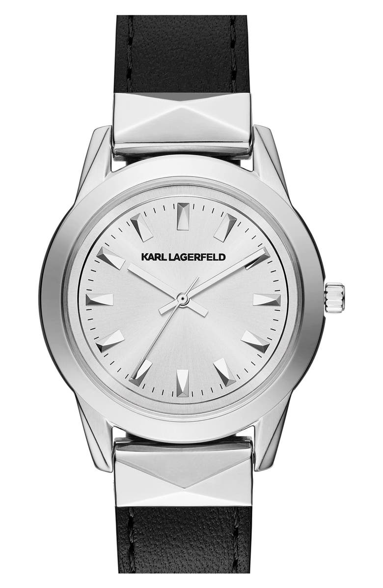 KARL LAGERFELD PARIS KARL LAGERFELD'Labelle' Stud Leather Strap Watch, 36mm, Main, color, 001