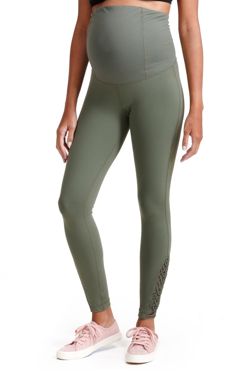 INGRID & ISABEL<SUP>®</SUP> Active Maternity Leggings with Macramé Detail, Main, color, OLIVE