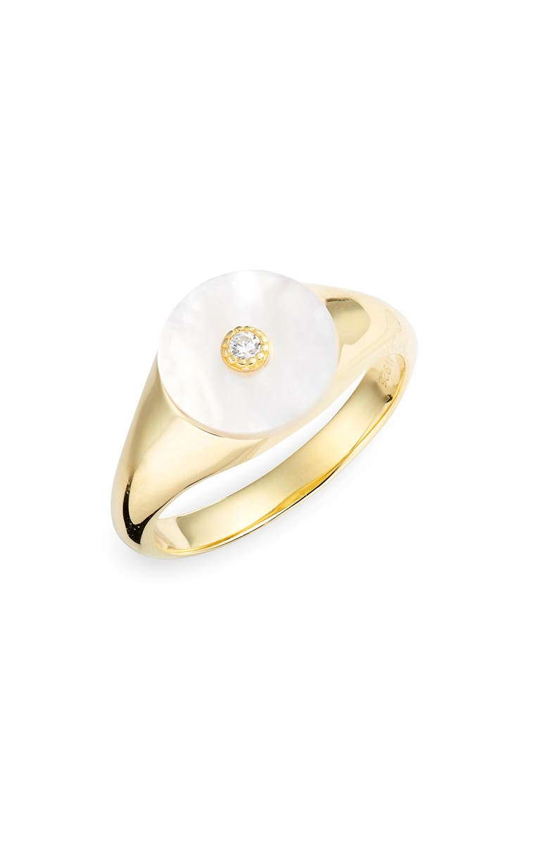 ARGENTO VIVO STERLING SILVER Argento Vivo Mother-of-Pearl Cubic Zirconia Signet Ring, Main, color, 710