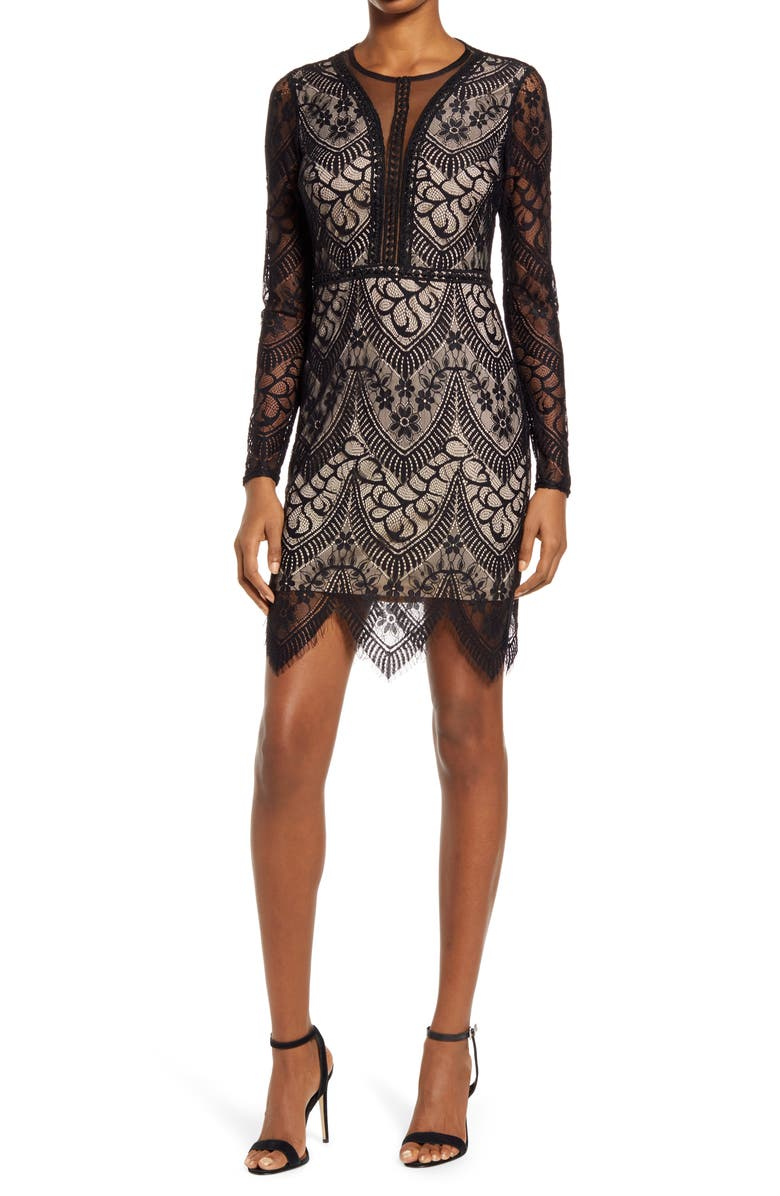 LULUS Totally Adored Lace Long Sleeve Dress, Main, color, BLACK