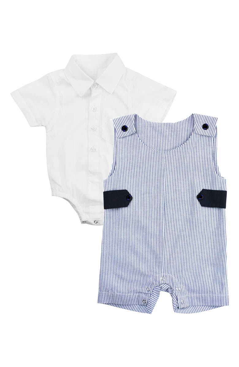 RUGGEDBUTTS Jon Jon Collar Bodysuit & Stripe Overalls Set, Main, color, BLUE