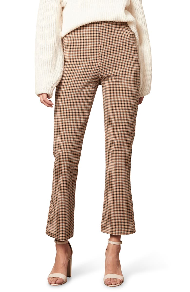 CUPCAKES AND CASHMERE Camille Plaid Ankle Pants, Main, color, CAMEL