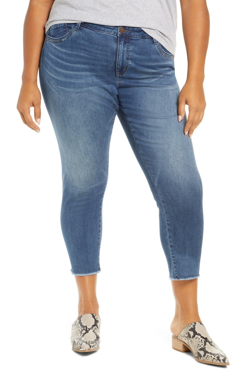 WIT & WISDOM Seamless High Waist Raw Ankle Skimmer Jeans, Main, color, 400