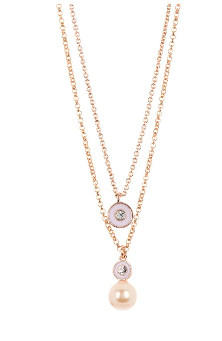 KATE SPADE NEW YORK double pendant layered necklace, Main, color, BLUSHMULTI