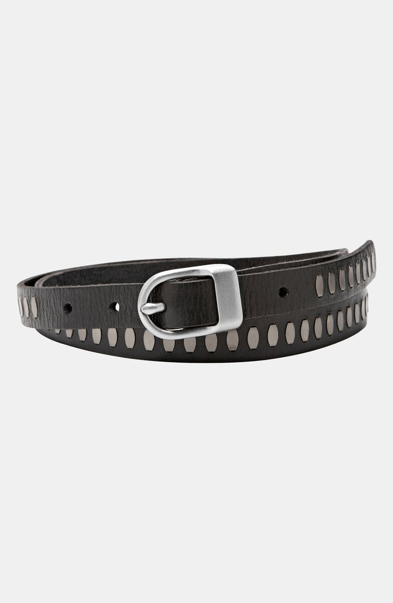 FOSSIL Riveted Leather Belt, Main, color, 001