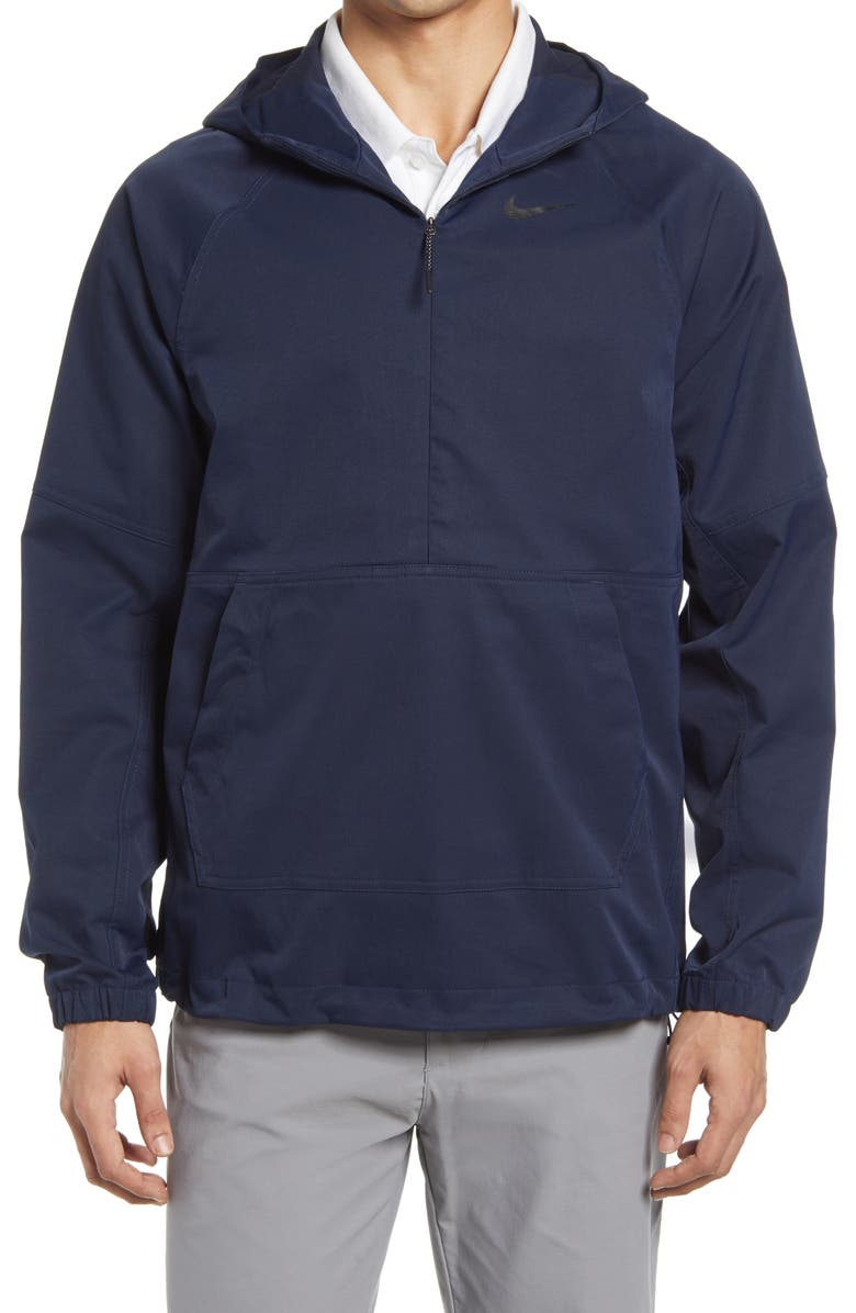 NIKE GOLF Nike Repel Water Repellent Hooded Golf Pullover, Main, color, OBSIDIAN/ OBSIDIAN/ BLACK