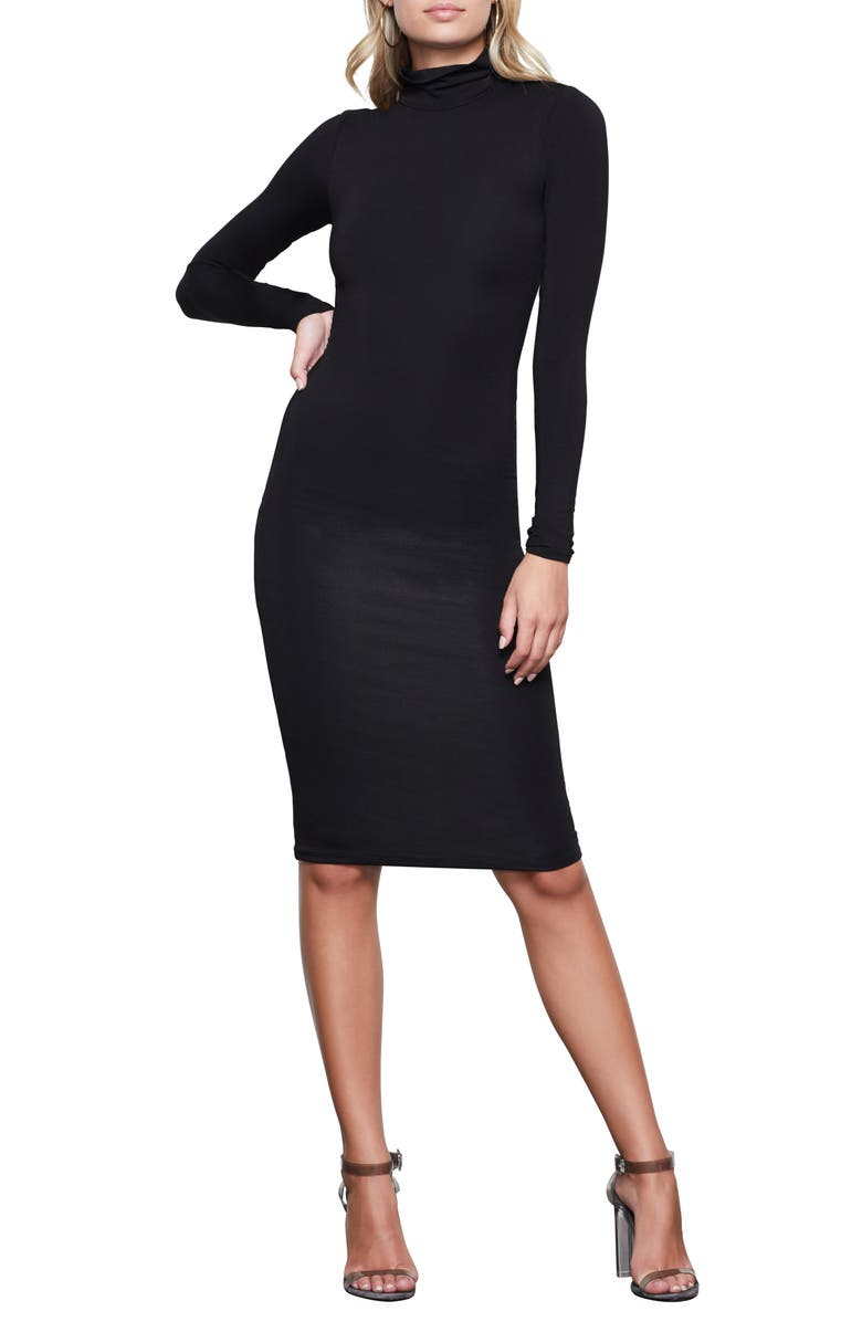 GOOD AMERICAN Body-Con Turtleneck Long Sleeve Dress, Main, color, 001