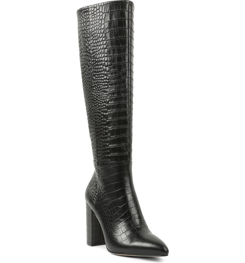 BCBGENERATION Baylee Croc Embossed Knee High Boot, Main, color, BLACK EMBOSSED CROC PRINT