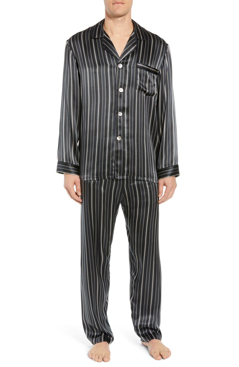 MAJESTIC INTERNATIONAL Fresh Ink Stripe Silk Pajama Set, Main, color, FOG