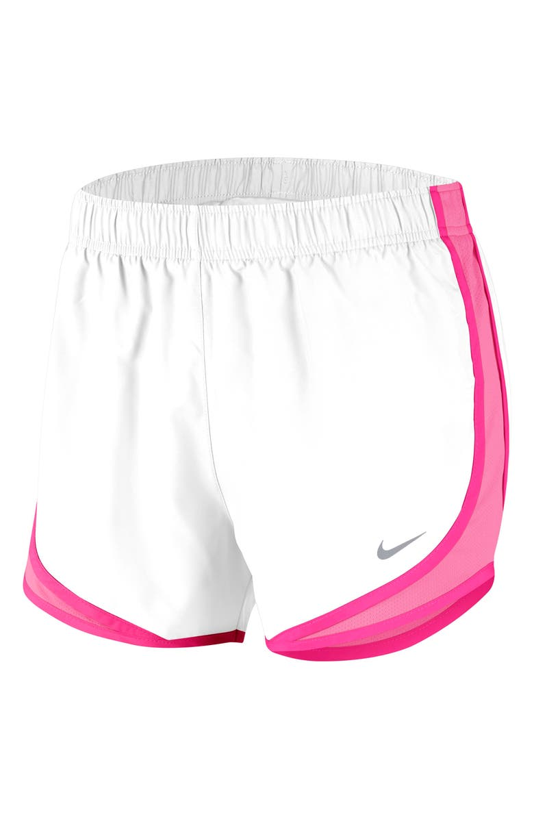 NIKE Dri-FIT Tempo Running Shorts, Main, color, WHITE/ HYPER PINK/WOLF GREY