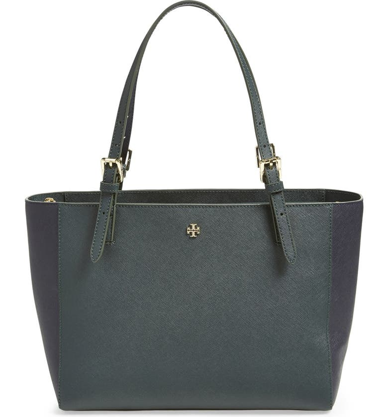 TORY BURCH 'Small York' Colorblock Buckle Tote, Main, color, JITNEY GREEN/ TORY NAVY