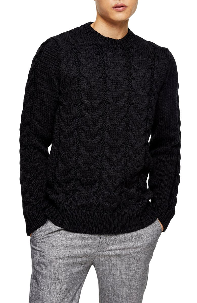 TOPMAN Topshop Cable Knit Sweater, Main, color, NAVY BLUE