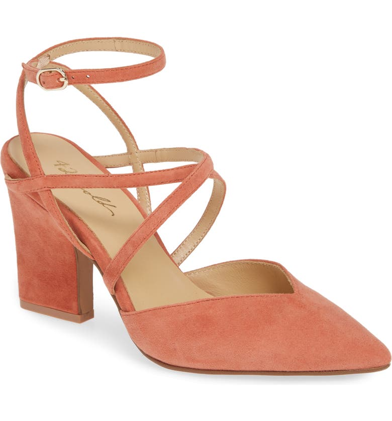 42 GOLD Fire Pointy Toe Ankle Strap Pump, Main, color, SUNSET CORAL SUEDE