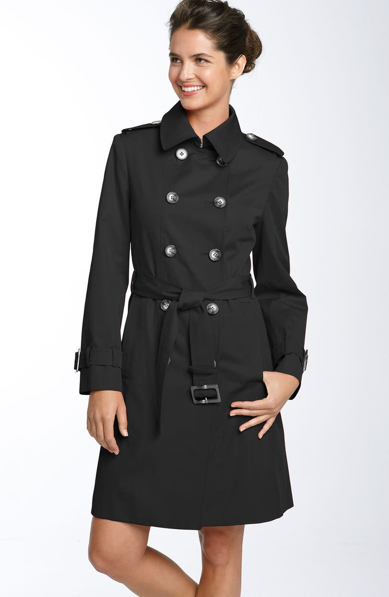 LONDON FOG Belted Trench Coat, Main, color, 001