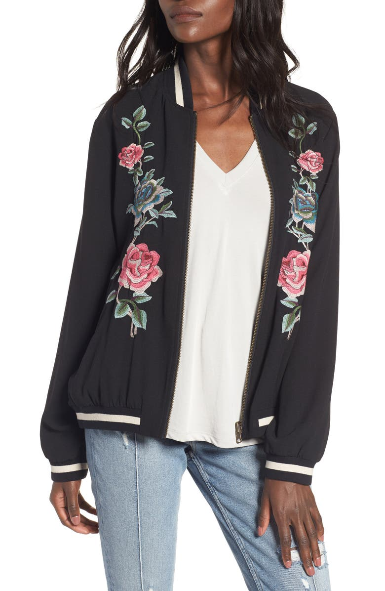 SHOW ME YOUR MUMU Reversible Bomber Jacket, Main, color, BLACK AND FLORAL