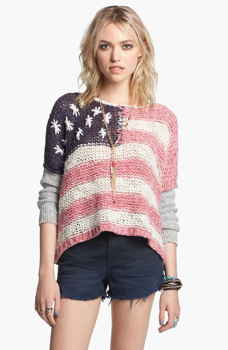 FREE PEOPLE Flag Sweater, Main, color, RED/ WHITE/ BLUE
