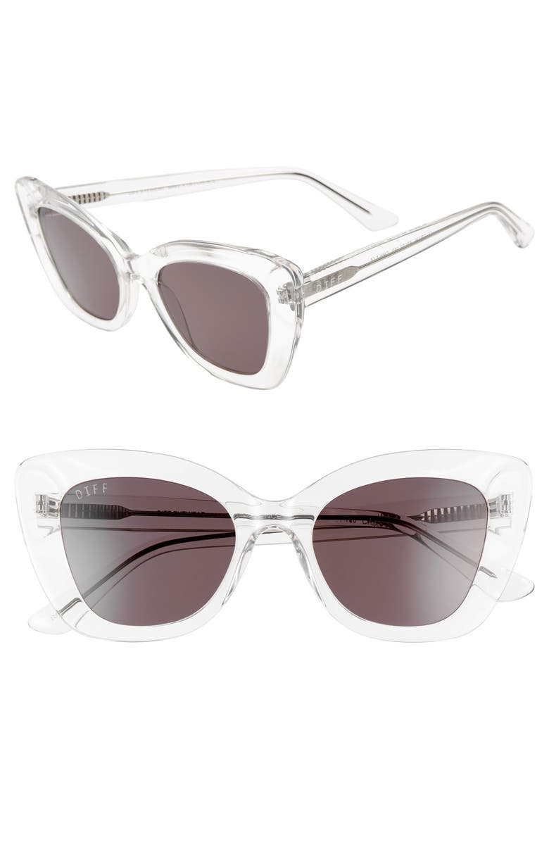 DIFF Raven 52mm Cat Eye Sunglasses, Main, color, CLEAR/ GREY