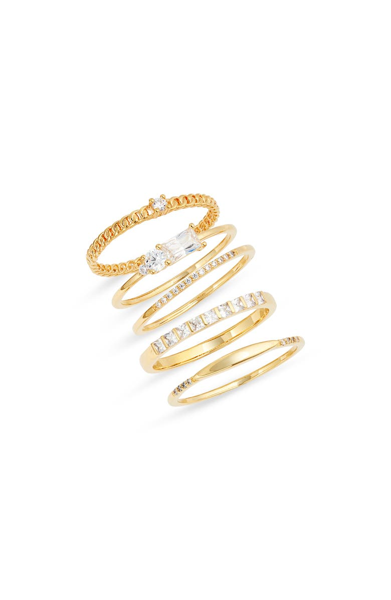 NORDSTROM Set of 5 Assorted Cubic Zirconia Rings, Main, color, CLEAR- GOLD