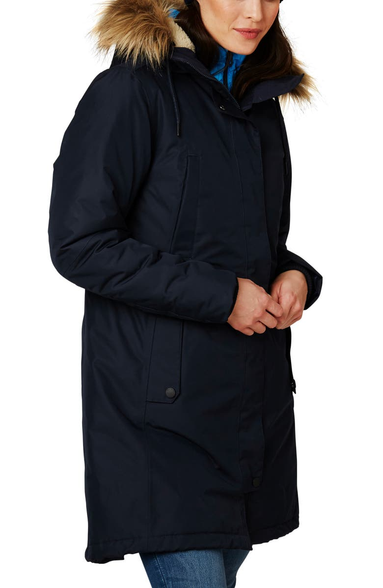 HELLY HANSEN Mayen Waterproof Parka with Removable Faux Fur Trim, Main, color, NAVY
