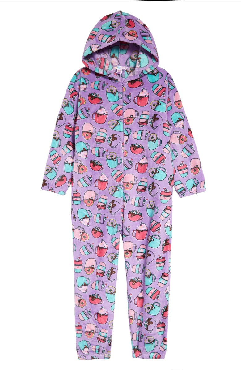 CANDY PINK Kids' Hot Chocolate Hooded One-Piece Pajamas, Main, color, LILAC