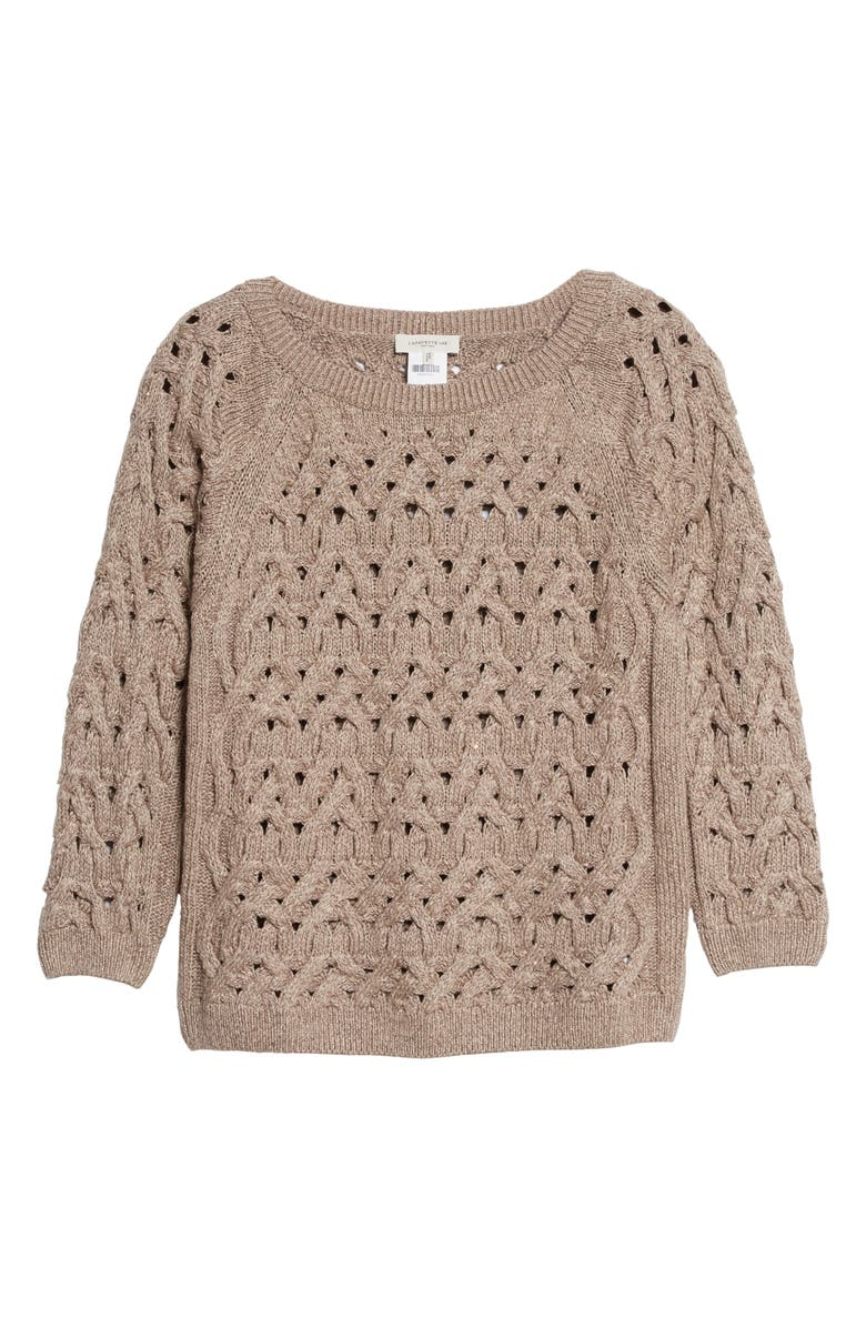 LAFAYETTE 148 NEW YORK Sequin Infinity Cable Metallic Sweater, Main, color, 036
