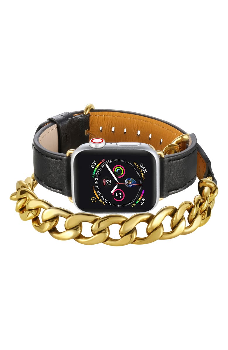 THE POSH TECH Leather & Chain Wrap Strap for Apple Watch<sup>®</sup>, Main, color, BLACK-42/ / 44MM