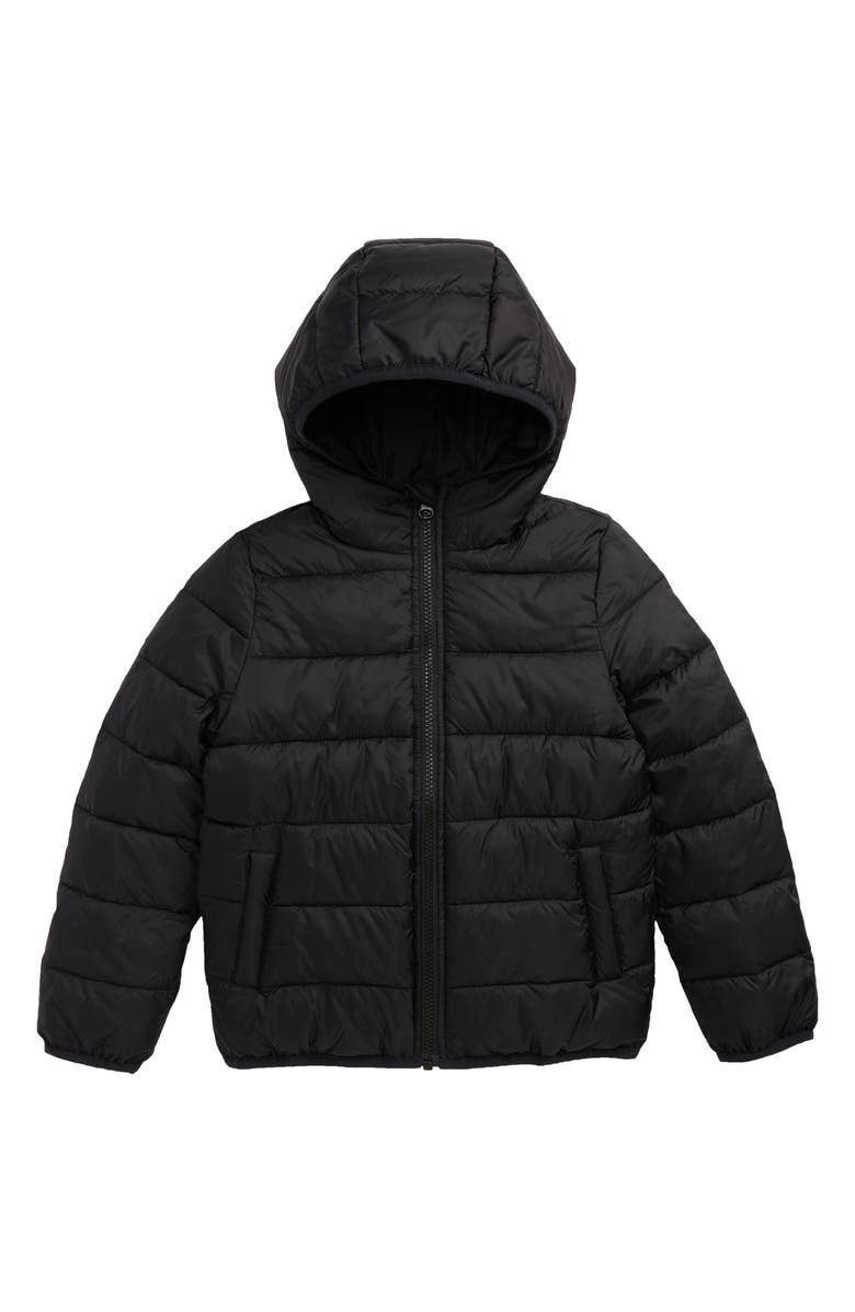 NORDSTROM Kids' Hooded Puffer Jacket, Main, color, BLACK