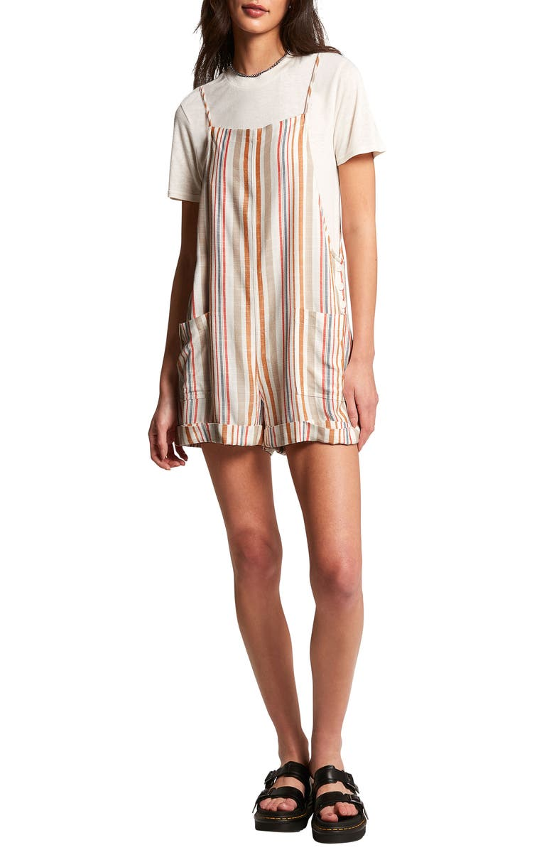 VOLCOM Can't Be Tamed Romper, Main, color, STAR WHITE