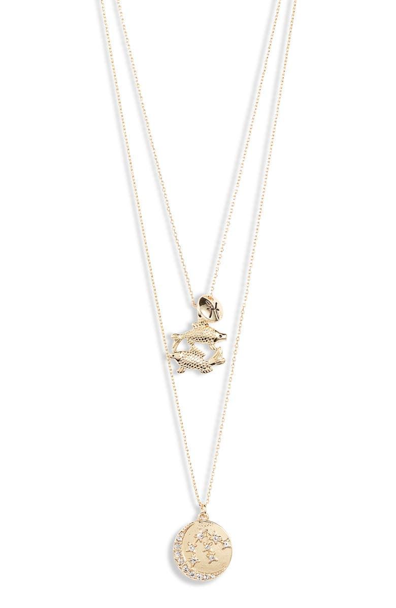 KNOTTY Pisces Astrological Charm Layered Necklace, Main, color, Gold