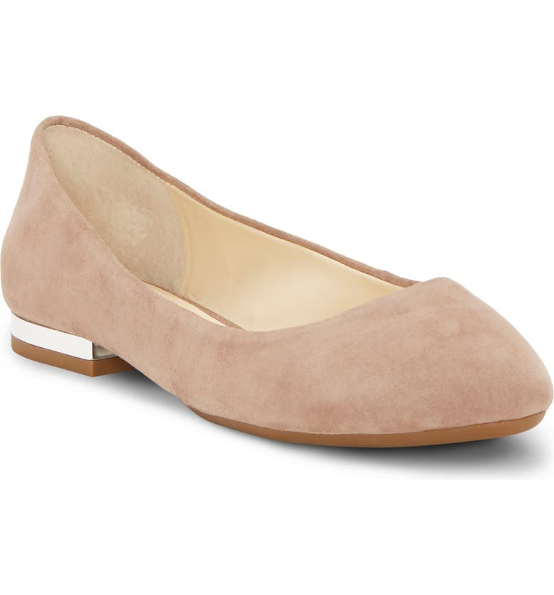 JESSICA SIMPSON Ginly Ballet Flat, Main, color, WARM TAUPE SUEDE