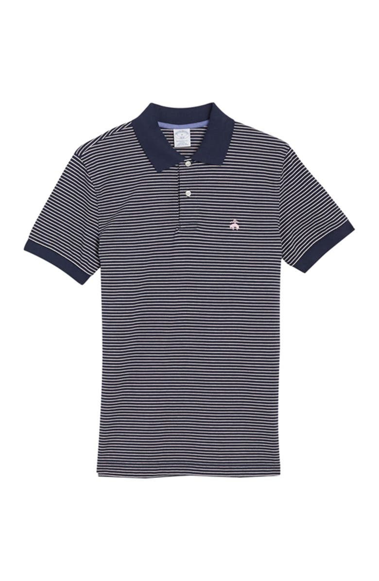 BROOKS BROTHERS Pique Knit Stripe Print Polo, Main, color, NAVY