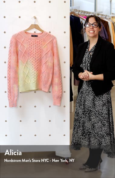 Aran Cable Knit Wool Blend Sweater, sales video thumbnail