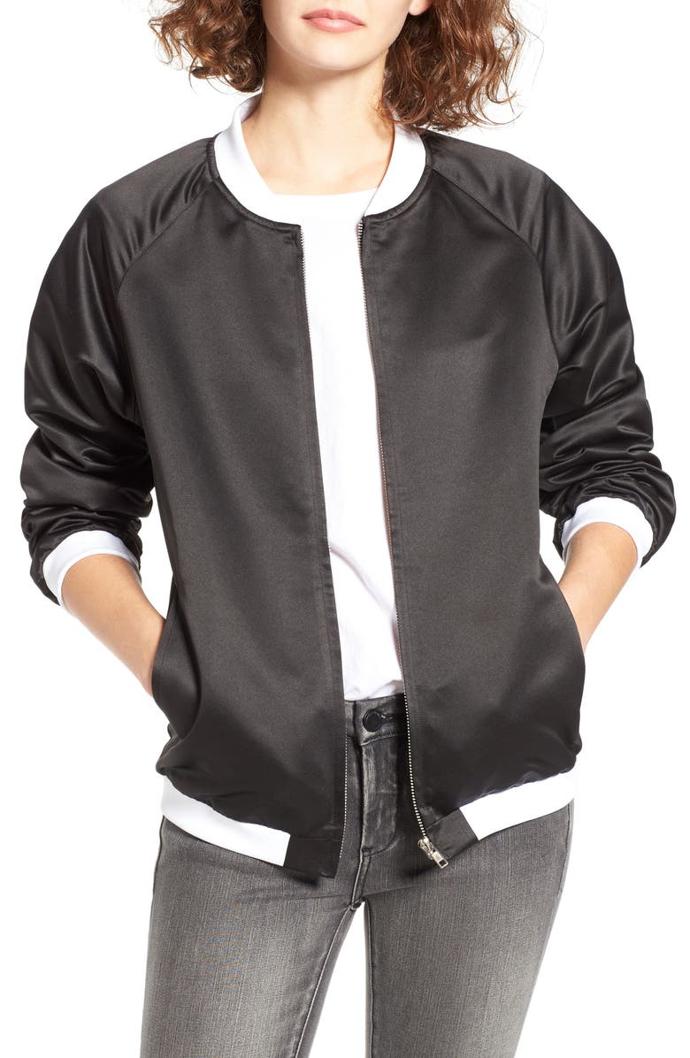 THE BABE COLLECTION The Style Club Babe Bomber Jacket, Main, color, 001