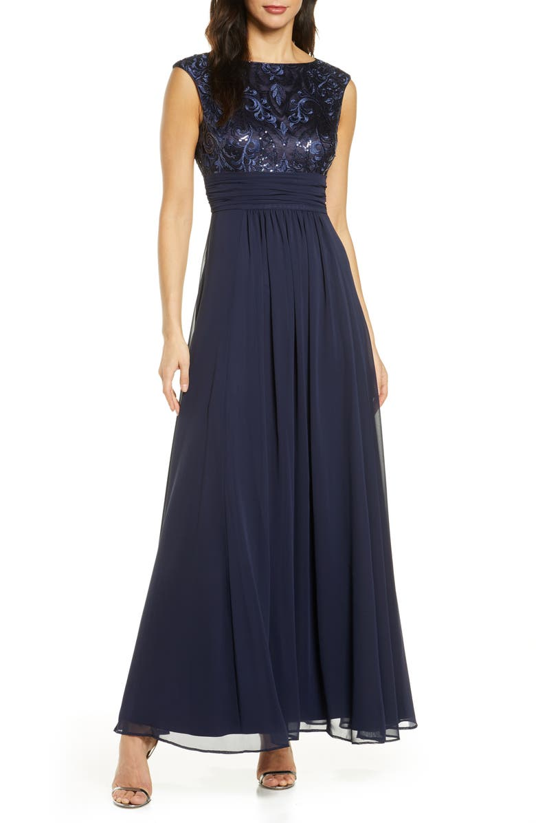 ELIZA J Sequin Embroidered Chiffon Gown, Main, color, NAVY