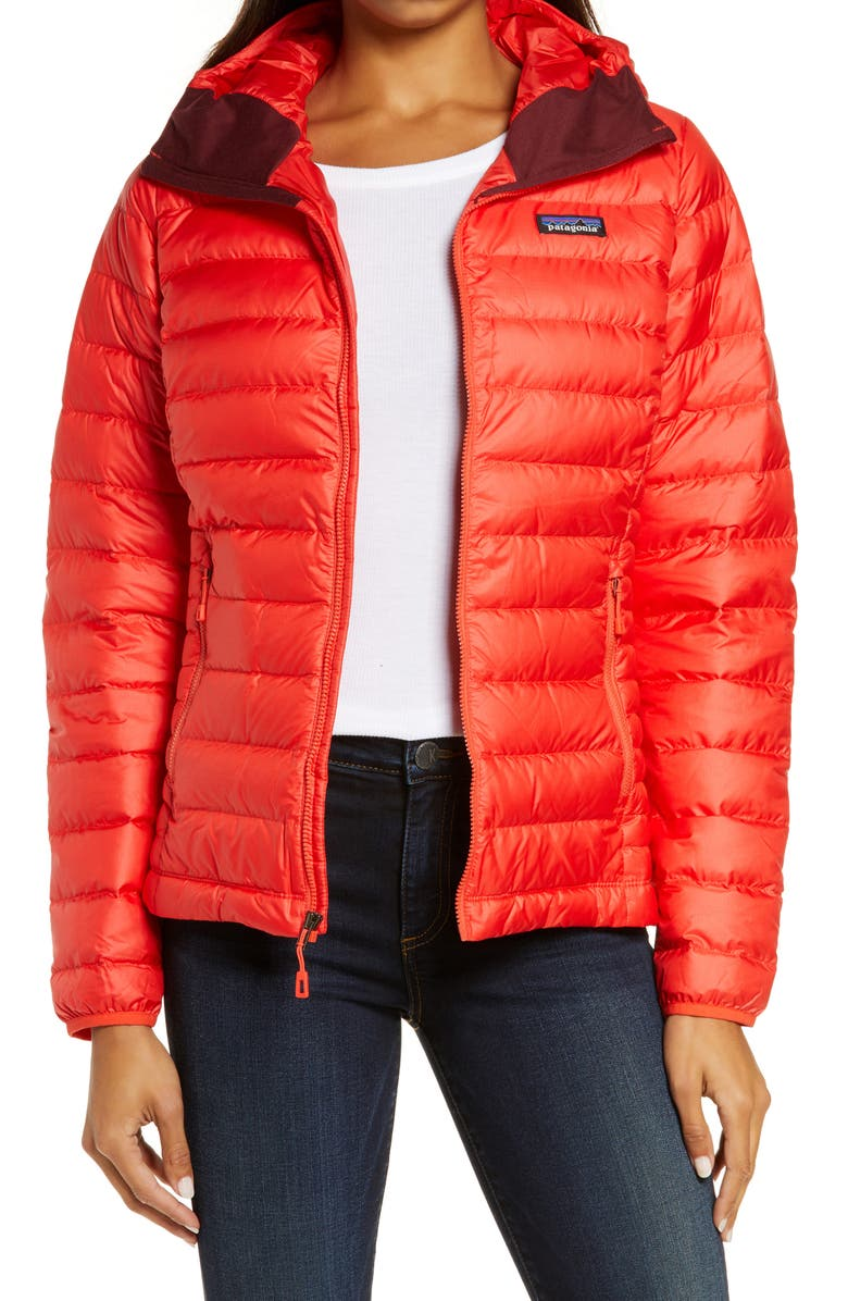 PATAGONIA Quilted Water Resistant Down Coat, Main, color, CATALAN CORAL
