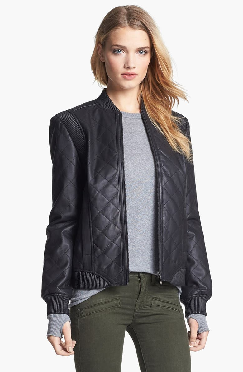 TRUTH & PRIDE Quilted Leather Bomber Jacket, Main, color, 001