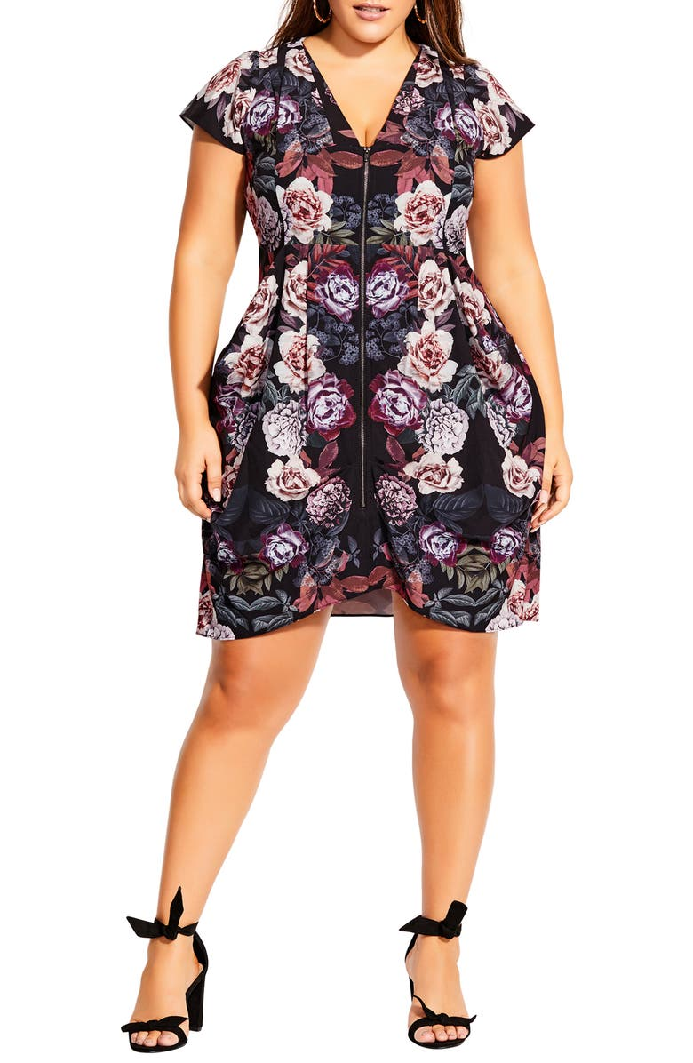 CITY CHIC Floral Print Zip Front Tunic, Main, color, 001