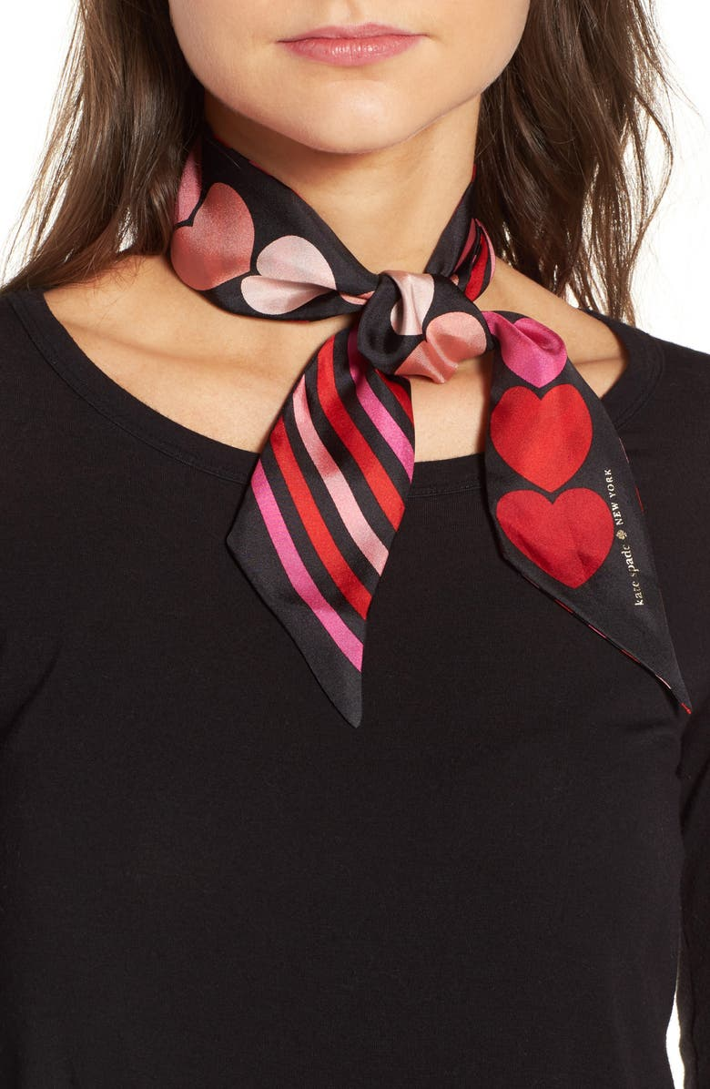 KATE SPADE NEW YORK heart stripe silk skinny scarf, Main, color, 001
