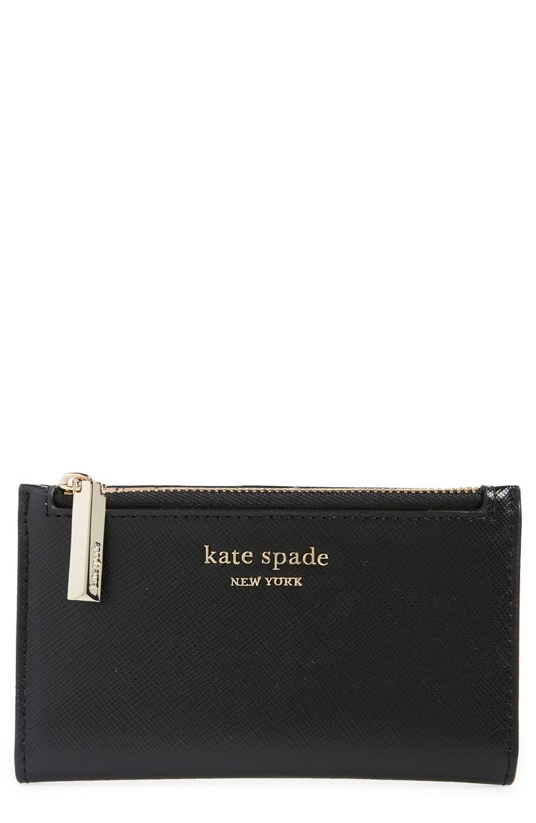KATE SPADE NEW YORK small spencer slim leather bifold wallet, Main, color, 001