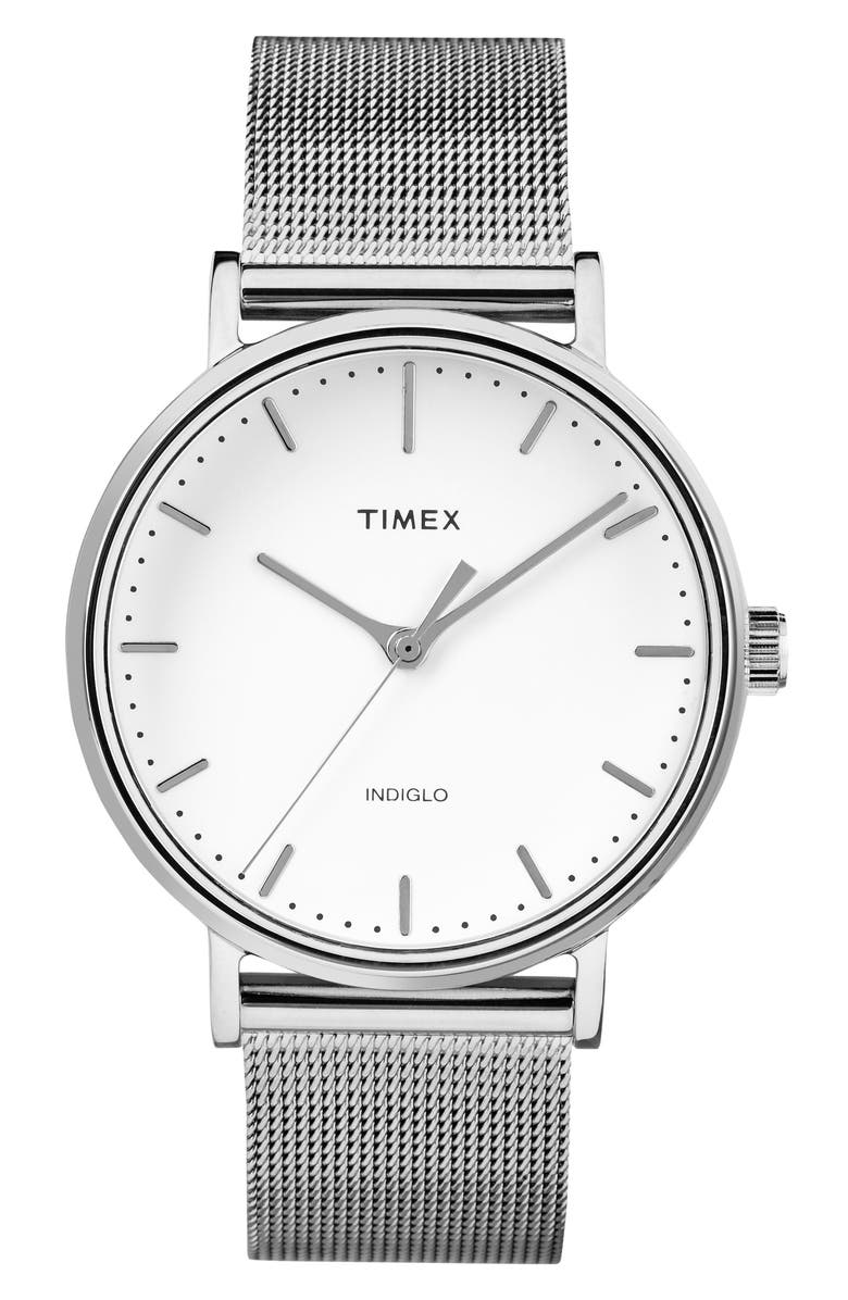 TIMEX<SUP>®</SUP> Fairfield Mesh Strap Watch, 37mm, Main, color, 040