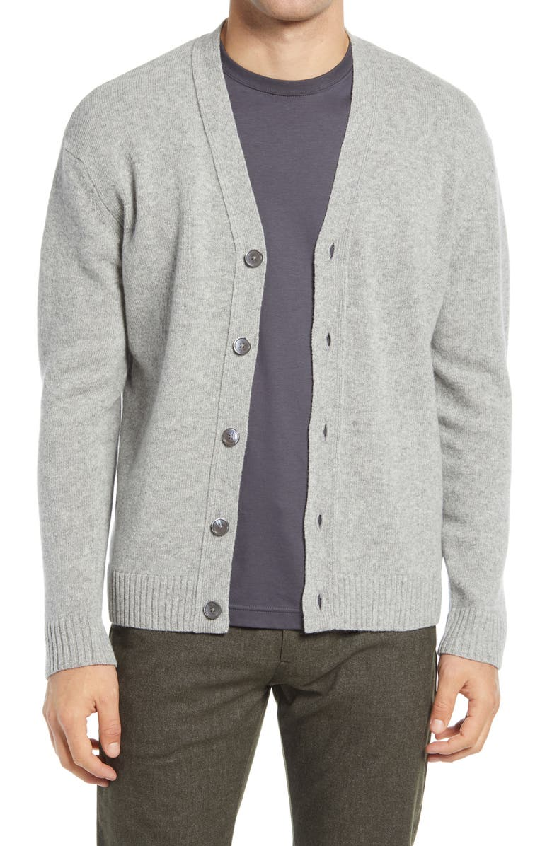 NN07 Bjørn 6333 Slim Fit V-Neck Cardigan, Main, color, LIGHT GREY MELANGE