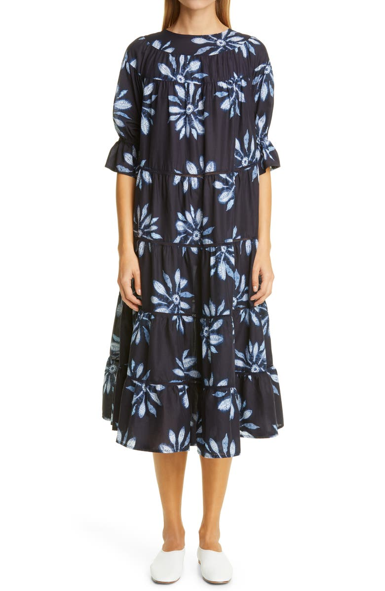 MERLETTE Paradis Tiered Puff Sleeve Cotton Dress, Main, color, NAVY / FLORAL PRINT