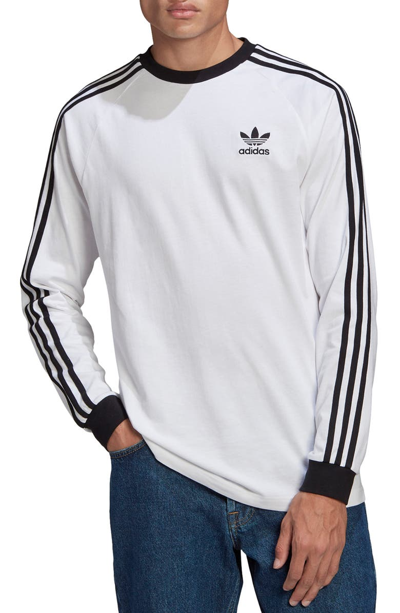 ADIDAS 3-Stripes Long Sleeve Graphic Tee, Main, color, WHITE