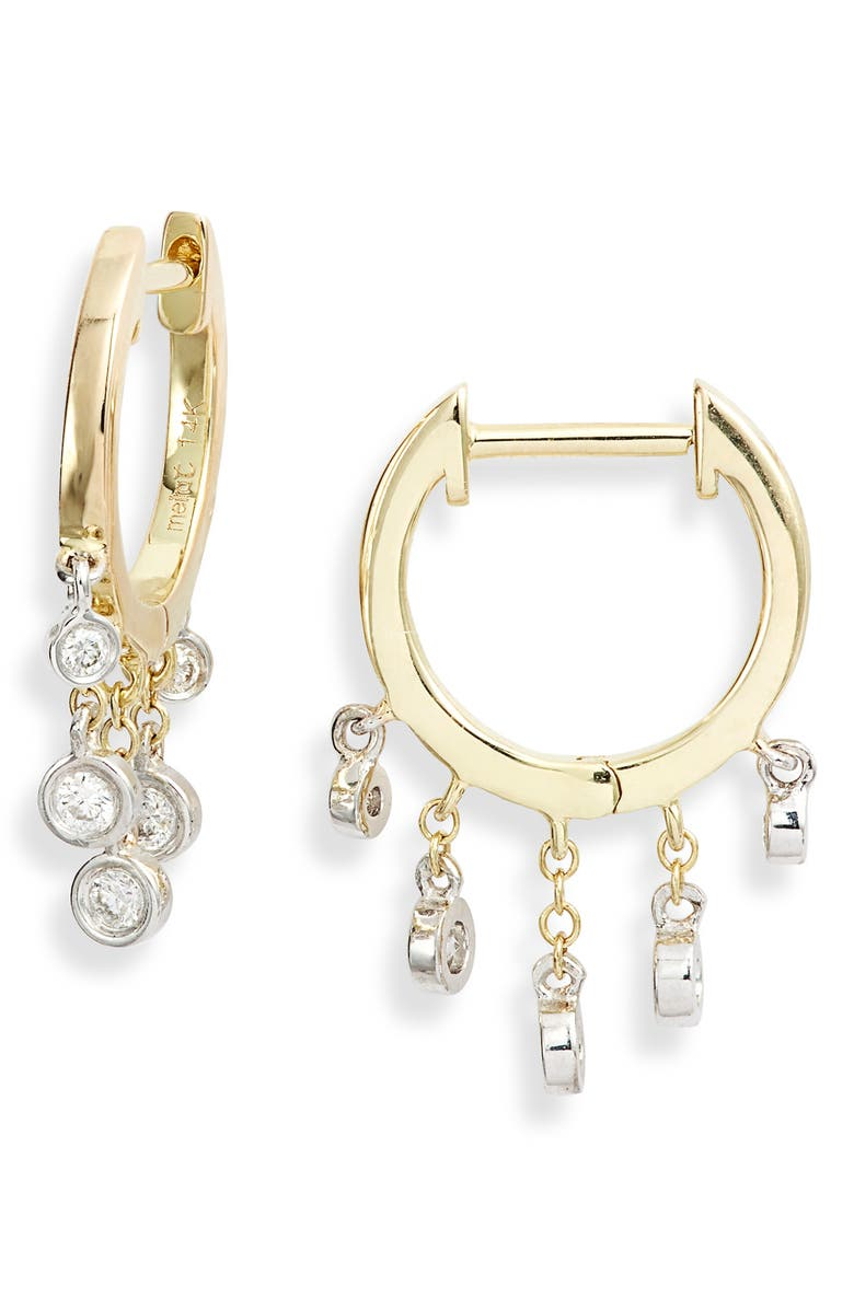 MEIRA T Diamond Fringe Hoop Earrings, Main, color, YELLOW GOLD/ DIAMOND