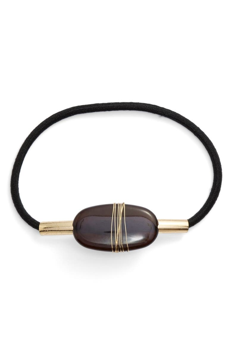 BERRY Wrapped Stone Ponytail Holder, Main, color, Black